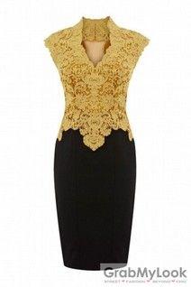GrabMyLook Elegant Crochet Lace Vintage Sleevesless Pencil Bodycon Cocktail Dress Skirt