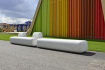 Public bench / contemporary / engineered stone / plastic