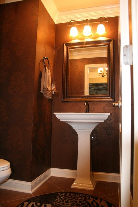 Half Bath   Pedestal Sink, Big Mirror, Triple Sconce. NOT These Colors!