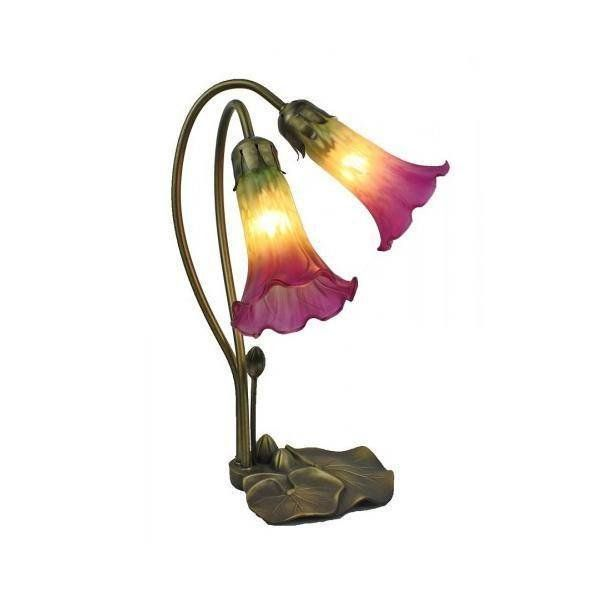 Waterlily Double Yellow & Pink Glass Table Lamp  Do you love that vibrant pop of colour created by a vase of flowers?   Give yourself a permanent, colourful treat with our Waterlily Double Yellow and Pink Glass Table Lamp. Designed to emulate a lily pad centred by a twin shoot of flowers, this lamp will add a warm, colourful glow to your space.