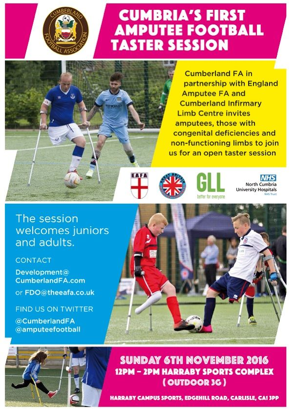 Amputee Football Event to be Held in Carlisle http://www.cumbriacrack.com/wp-content/uploads/2016/10/Amputee-Football-Event-to-be-Held-in-Carlisle.jpg The Cumberland FA have announced that it has teamed up with England Amputee FA and the Cumberland Infirmary Limb Centre to deliver a special event    http://www.cumbriacrack.com/2016/10/28/amputee-football-event-held-carlisle/