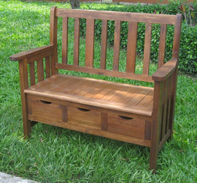 Use This Three Drawer, Wood Storage Bench To Add Seating For Your Indoor Or  Outdoor Conversational Space. This Bench Is Practical And Comfortable, ...