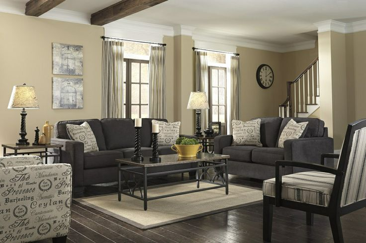 New ashley vintage casual alenya-charcoal upholstery couch sofa and loveseat set
