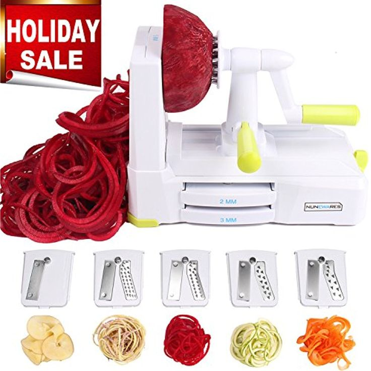 5-Blade Spiralizer Vegetable Spiral Slicer, Noodle Maker, Fruits and Veggies Slicer for Low Carb/Paleo/Gluten-Free Meals with Labeled Blades and Storage Box, Cleaning Brush, Mini Recipe Book *** You can get more details by clicking on the image. (This is an affiliate link) #KitchenUtensilsGadgets