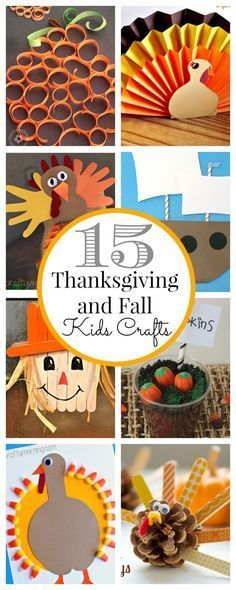 Gobble up these 15 Thanksgiving kids' crafts! Scarecrows, pumpkins, turkeys and more! Perfect fall craft ideas for preschool, kindergarten, first and second grade! #thanksgivingcrafts #fallcrafts