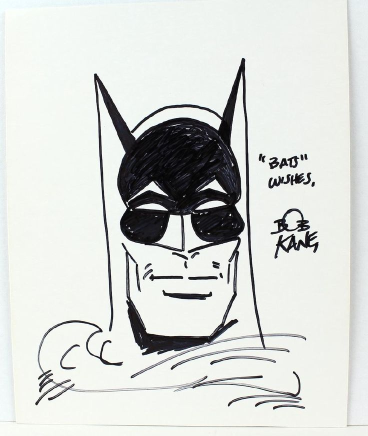 Lot: Bob Kane Batman Artist Signed Drawing of Batman, Lot Number: 0073, Starting Bid: $50, Auctioneer: American Antique Auctions, Auction: Autographs- Artists to Presidents! Signed, Date: March 5th, 2017 EST
