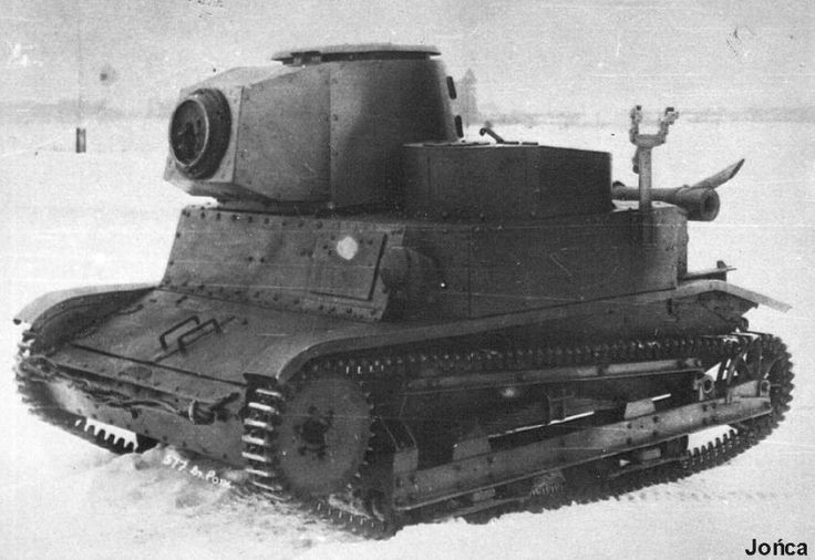 """TKW - polish prototype of light tank based on TK-3 tankette chassis. """"W"""" in name comes from word """"wieża"""", which means turret. This variant had second version of turret. Prototype was failure - unbalanced center of gravity (right side was overstretched), poor armour, only 306° rotating turret (shield which protected drivers head blocked turret)."""