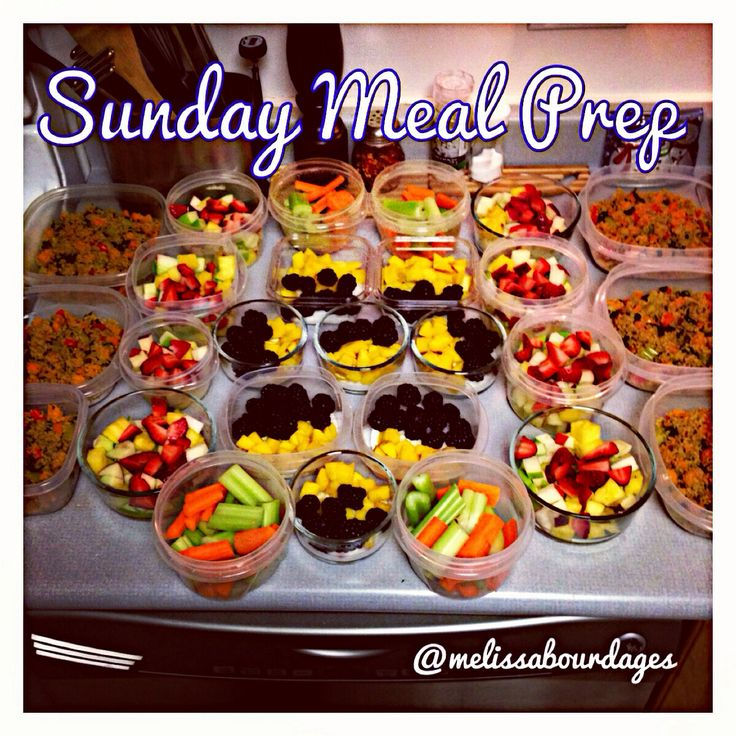 Sunday meal prep! By preparing the weeks snacks and lunches it makes it much easier to commit to a healthy diet. We now have several small meals ready to go. Helps us eat 5-6 small meals a day - key to keep the metabolism going
