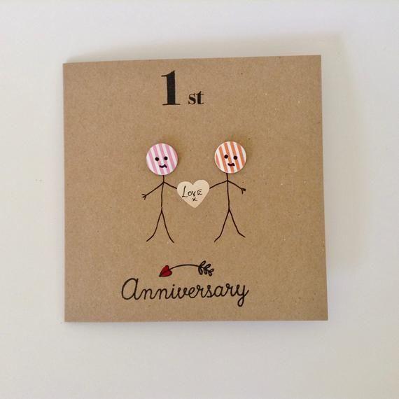 1st Anniversary Card Happy Anniversary Wife Husband Hand Etsy 1st Anniversary Cards Anniversary Cards Handmade Anniversary Cards For Husband