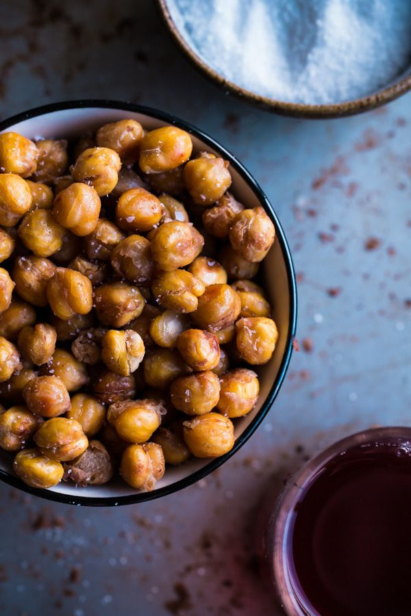 Roasted chickpeas, like these at Blogging Over Thyme that are seasoned with salt and vinegar, make a great high-protein, gluten-free snack that you can pack in a lunch box or take on the go.