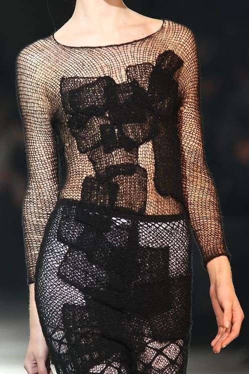 @liviamoraespins l #Black crocheted dress with applique patches; fashion detail…