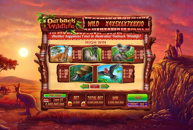 """Graphic design of paytable for the game slot machine """"Outback wildlife"""" http://slotopaint.com/"""