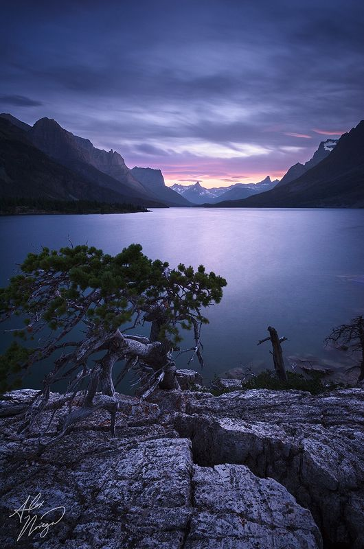 """Twilight falls at Glacier National Park's St Mary Lake."" Photo by Alex Noriega."