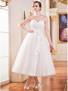 Forme Princesse Bustier en coeur Longueur mollet Taffeta Tulle Robe de mariée avec Plissé Fleur(s)