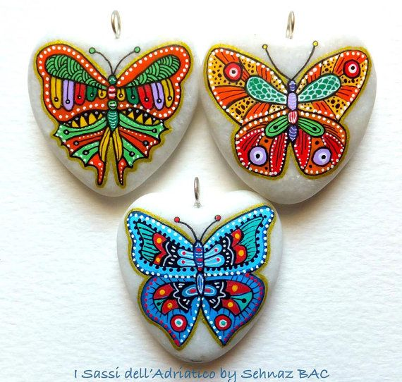 Hand Painted Stone Butterfly Pendant by ISassiDellAdriatico