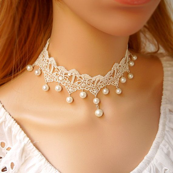 Porcelain Gothic Vintage White Flower Lace Necklace by less4more, $5.20