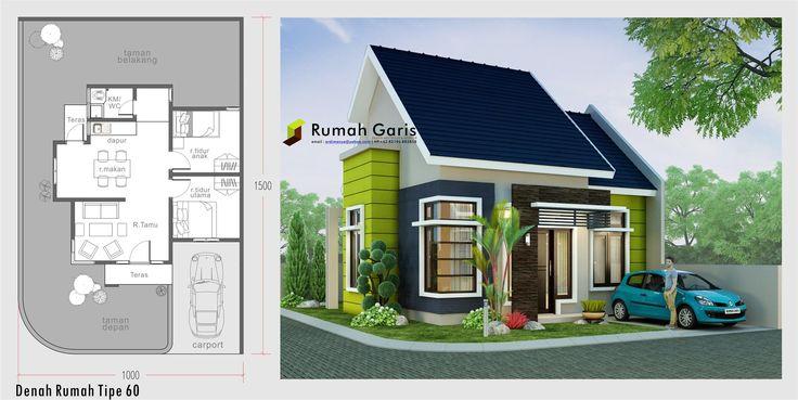 denah dan tampak rumah sudut tipe 60 dengan konsep modern minimalis di lahan 10x15  jasa arsitek dan interior online email kami: ardimanye@yahoo.com