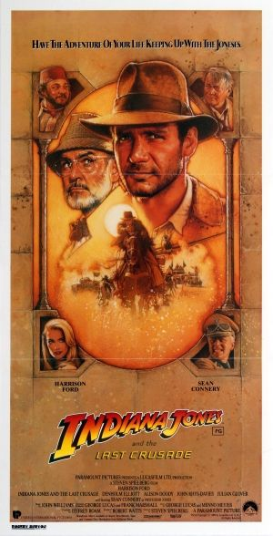 """Indiana Jones and the Last Crusade, 1989 - original vintage movie poster by Drew Struzen for the Australian release of the classic action adventure film – Indiana Jones and the Last Crusade """"Have the Adventure of your Life keeping up with the Joneses"""" directed by Steven Spielberg and starring Harrison Ford, Sean Connery, Denholm Elliott, Alison Doody, John Rhys-Davies and Julian Glover, listed on AntikBar.co.uk"""
