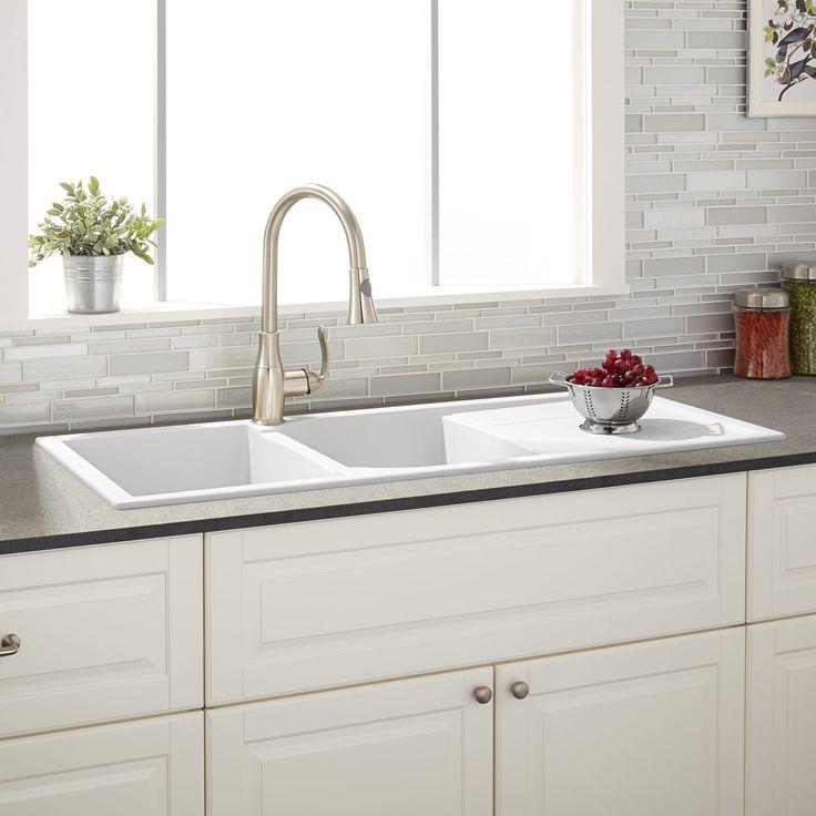 "46"" Owensboro Double-Bowl Drop-In Granite Composite Sink with Drain Board - Eggshell White"