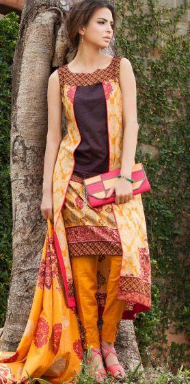 Orange Cotton Lawn Salwar Kameez Dress $49.99 DESIGNER LAWN 2014 Pakistani Indian Dresses Online, Men Women Clothing and Shoes | PakRobe.com