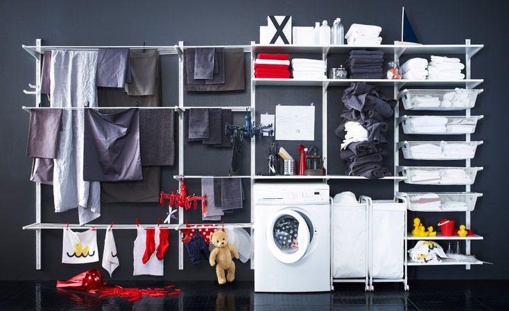 ALGOT oppbevaringssystem bygd som klesvaskløsning Kanskje klessnorene til venstre hvis jeg får langt nok vaskerom.