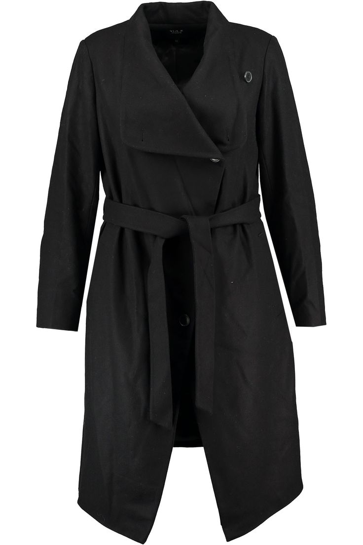 Winter coat | Long coat | Black | Fashion | Plussize fashion | Zwarte jas | Lange wollen winterjas