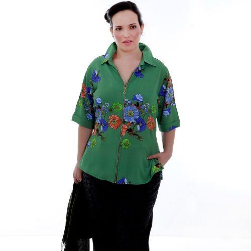 Camisa Gucci Verde Zipper Plus Size - Camisa Gucci Zipper  Camisa em viscose, estampada com fundo verde abacate, com gola e pé de gola, zipper de encaixe na frente, mangas 3/4 com com barra italiana, detalhe de viéz de cetin branco pespontado desde o ombro. Um Charme esta camisa. Você se sentirá muito elagante e confiante com esta camisa!  Marca - VICKTTORIA VICK Plus Size  Composição Têxtil:  100%Viscose
