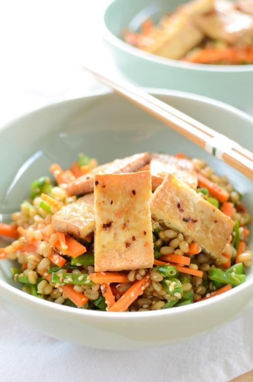 vegan marinated baked tofu and wheat berry salad.