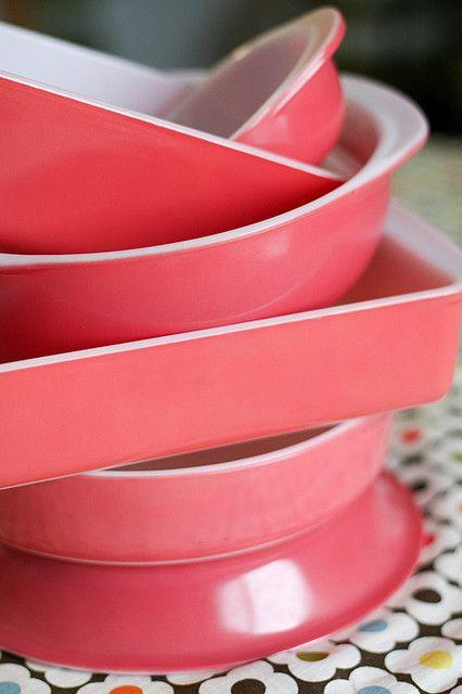 Flamingo Pink Pyrex 1950s