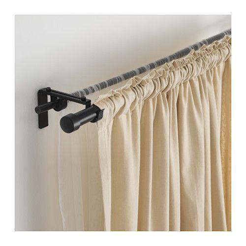 RÄCKA / HUGAD Double curtain rod combination, black