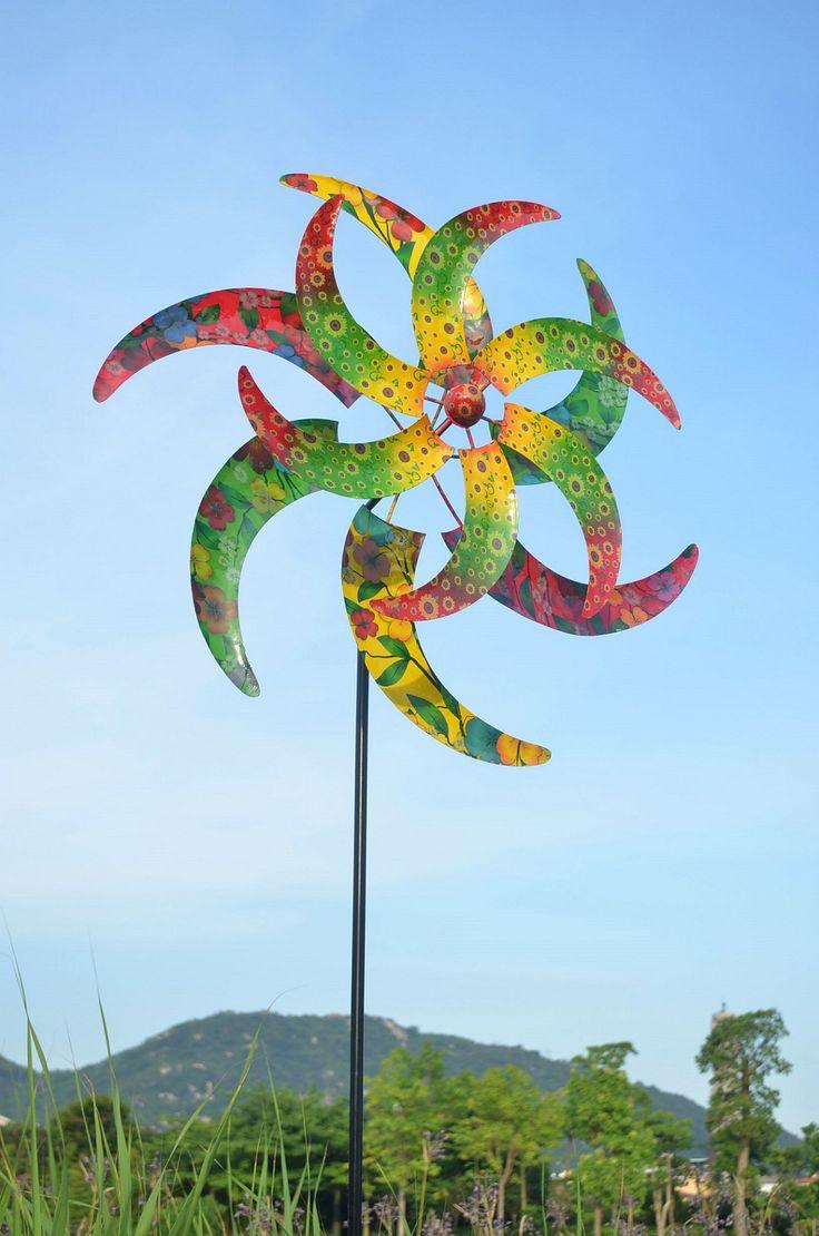 Windrad doppelläufig, Blüte, Metall, 184cm hoch, aufwendig verarbeitet | DEKORATION | GARTEN | Kajak Kanu Elektromotor bei BeachandPool.de online kaufen