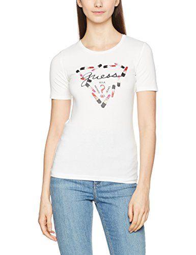 Guess SS SN TEE maglia in cotone stretch, con disegnato rossetti e logo. Scollo rotondo. Vestibilità slim. Colore Bianco.