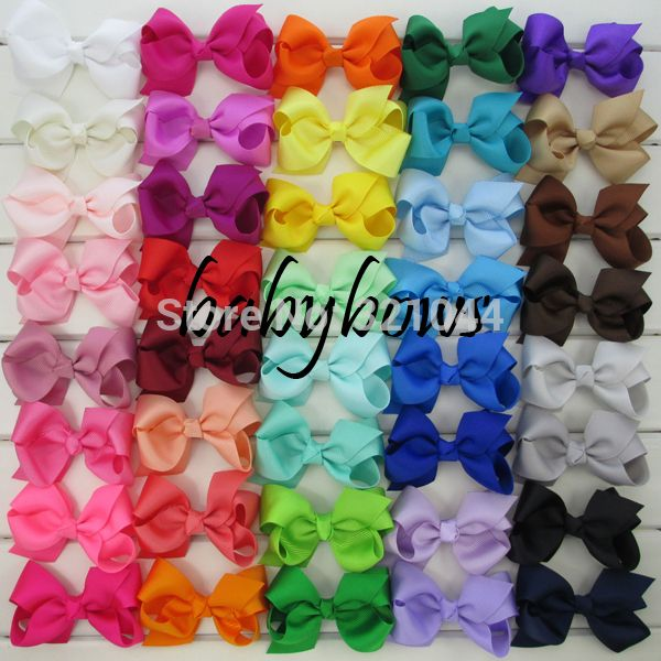 40pcs/lot 3.3'' Grosgrain Hair Ribbon Bows WITH Alligator Hair Clips Baby Boutique Girls Bows hairpins Girls' Hair Accessories