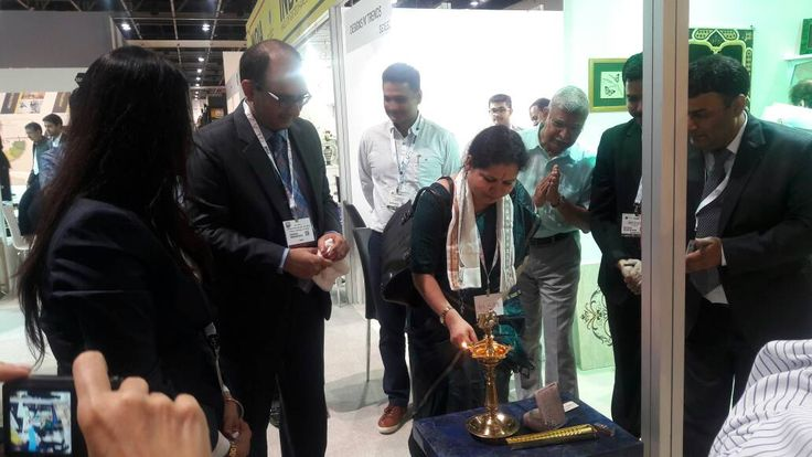 Lamp Lighting Ceremony at EPCH's India Pavilion at The Index International Design Exhibition, 2017. #EPCHIndia #IIDE17 — at Dubai World Trade Centre.