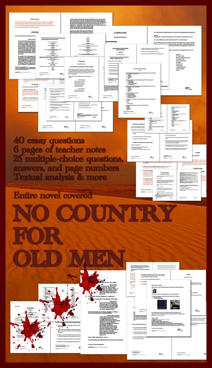 critical essay no country for old men Get an answer for 'what is a thesis i can come up with for an essay on no country for old men' and find homework help for other no country for old men questions at.