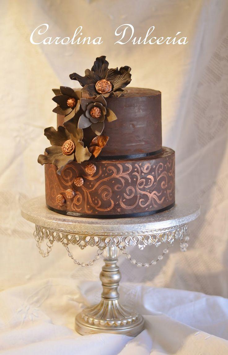 Chocolate wedding cake, torta de novios de chocolate