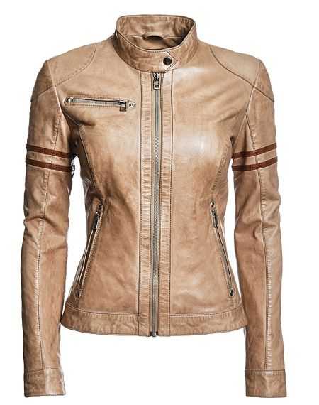 Awesome biker jacket...I love that it's not black, but it's still totally badass.                                                                                                                                                                                 More