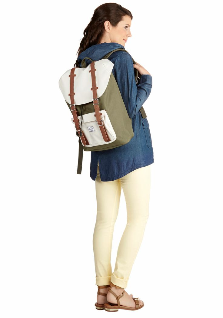 Out in the Field Backpack. Before heading out to snap your favorite subjects, slip your laptop and supplies into the roomy interior of this colorblocked, neutral backpack by Herschel Supply Co.!  $89.99 #green #modcloth