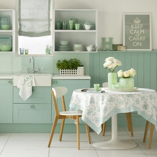 Serene green kitchen-diner | Kitchen room ideas | PHOTO GALLERY | Ideal Home | H…