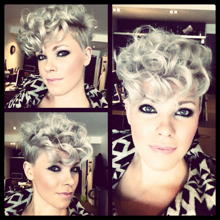 Cute curly pixie. I would NEVER ever do this but it's super cute