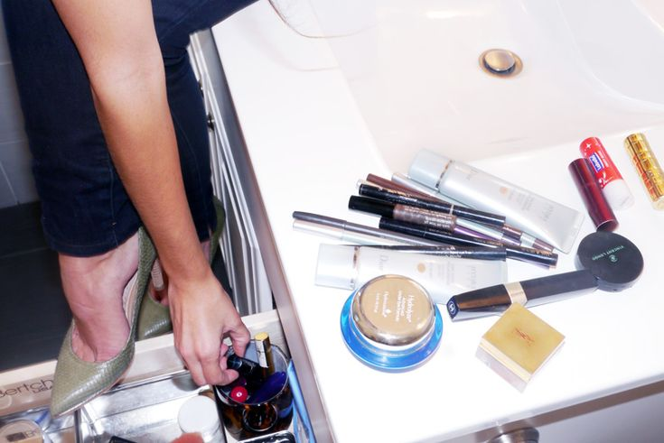 Maria Jacobs's bathroom makeup storage