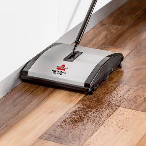 Why we use the BISSELL Natural Sweep Dual Brush Sweeper | Easy to use | Dual brushes | Picks up quickly |  Lightweight | Compact | Works on rugs, carpet & hard surfaces | Quiet (affiliate)