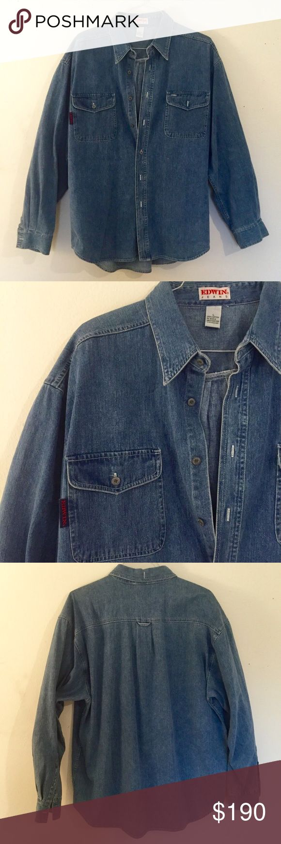 Edwin Jean Denim Button Up Heavy Shirt Jacket Lrg! Has been Dry Cleaned! Excellent Condition! Large and a heavier item! Edwin Jackets & Coats Lightweight & Shirt Jackets