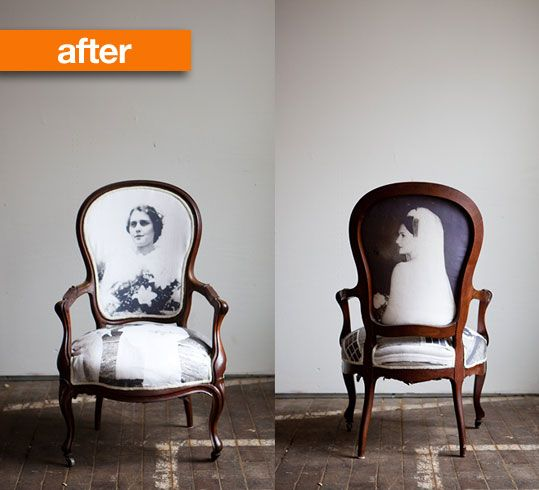 Chair upholstered with photo printed fabric.... Photo is the owner's grandmother on her wedding day.