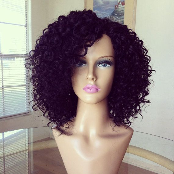 Curly Human Hair wig with invisible part by HungerPAINZ on Etsy, $55.00