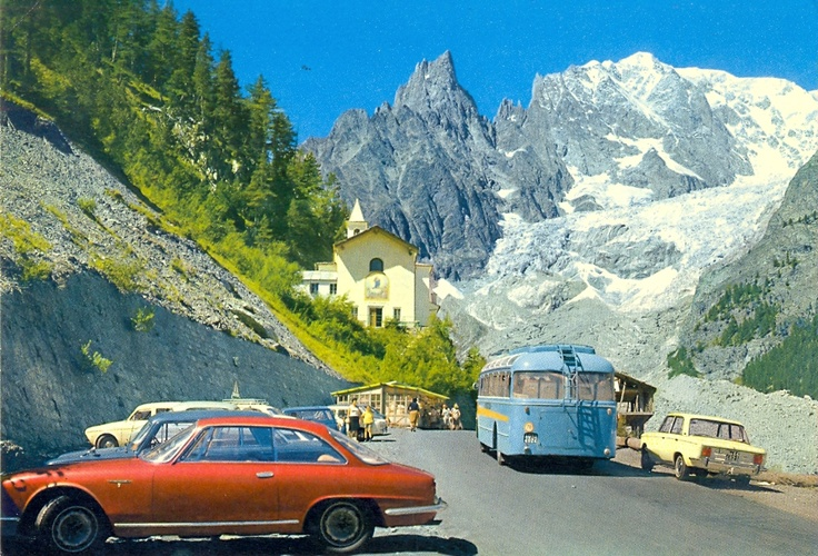 Notre Dame de Guèrison, Ghiacciaio della Brenva, Val Veny,  Italy (including Alfa Romeo 2600 Sprint and Fiat 125 in the background)