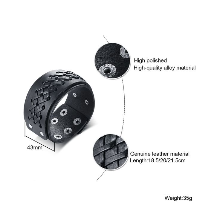 Xuanpai rock stylish 43mm wide wrap bracelet bangle men black genuine braided er…   – Products