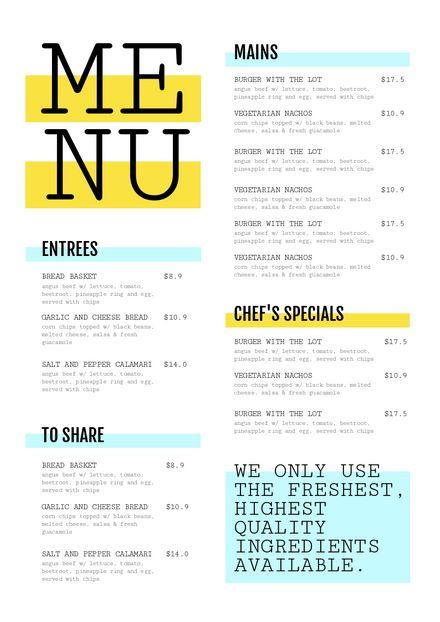 Customizable Restaurant Menu Templates - Easil - Easil