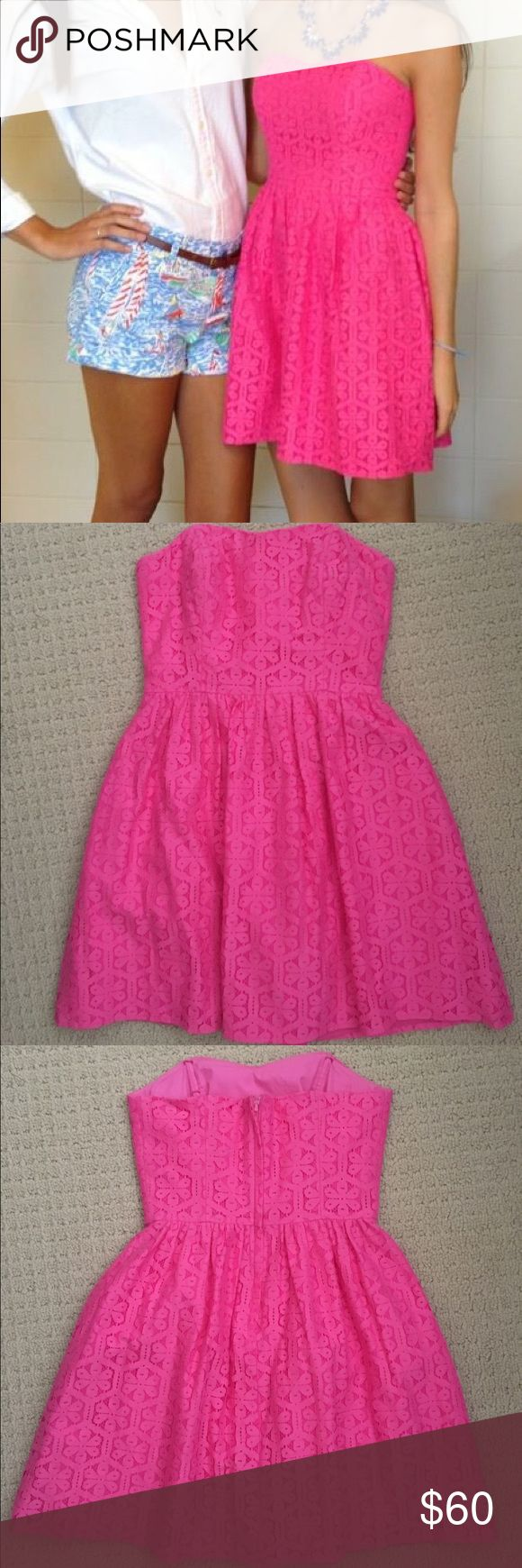 Lilly Pulitzer Strapless Dress Pink eyelet dress perfect for summer and spring! Corset lined on the inside to help the dress stay up. Only worn once and is a size 00. (Lilly Pulitzer Nautical Shorts on left located on my profile for sale also) Lilly Pulitzer Dresses Strapless