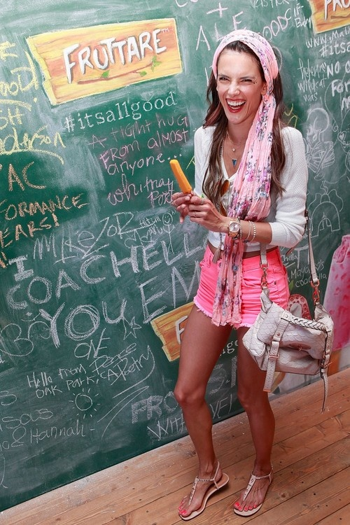 Alessandra Ambrosio stopped by the Fruttare Hangout at Coachella on April 13, 2013